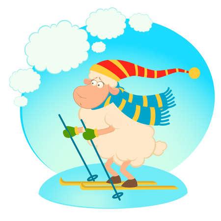 Cartoon funny skier sheep Illustration