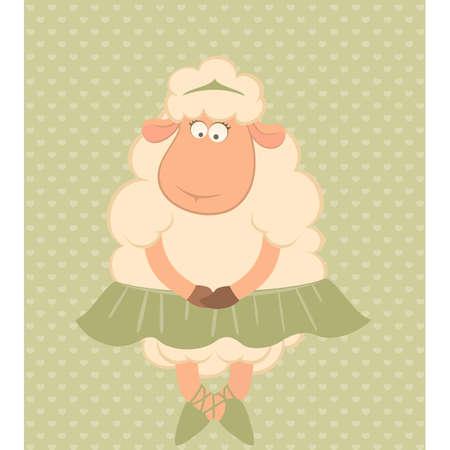 harmonious: Cartoon funny sheep - ballet dancer.  Illustration