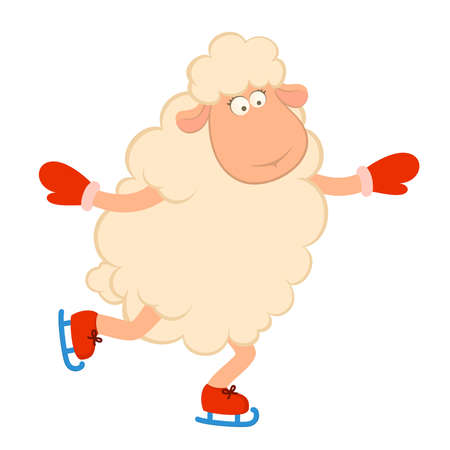 Cartoon funny sheep goes for a drive on skates. illustration