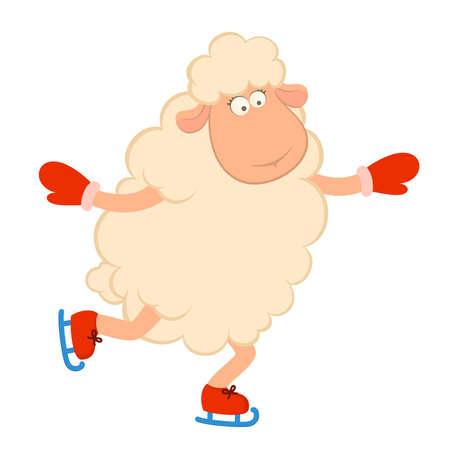 deslizamiento: Divertida de dibujos animados ovejas pasa de una unidad de patines. Ilustraci�n Vectores