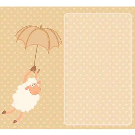 Vector illustration of cartoon sheep flies on a  umbrella Vector