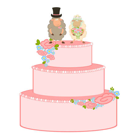 Illustration of pink sweet wedding cake on white background. Vector. Vector