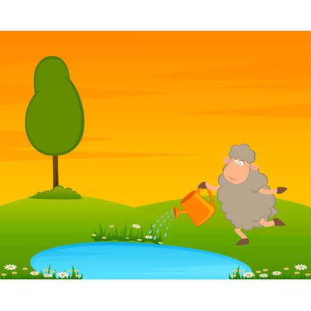 Cartoon funny sheep on country landscape with tree and lake. Stock Vector - 8565927