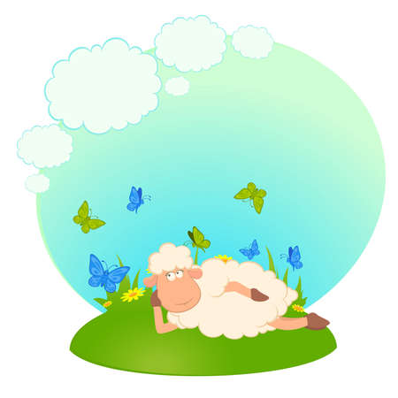 illustration of cartoon sheep dreams about love Vector