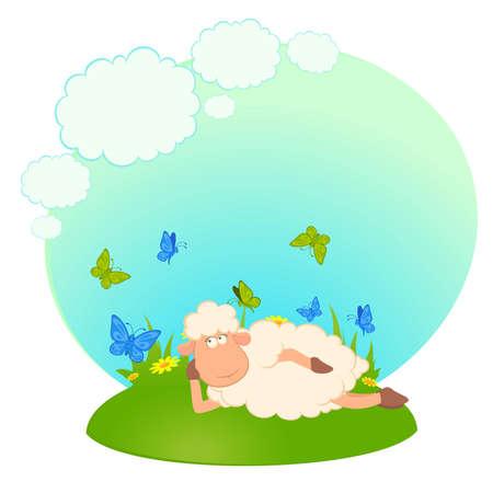 image lamb: illustration of cartoon sheep dreams about love