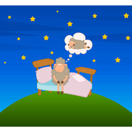 illustration of sheep of caricature in a bed dreaming about a girl-friend Vector