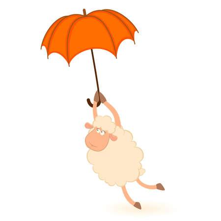image lamb: Vector illustration of cartoon sheep flies on a red umbrella Illustration