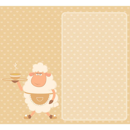 illustration of cartoon sheep - house-owner brings a delicious soup Vector