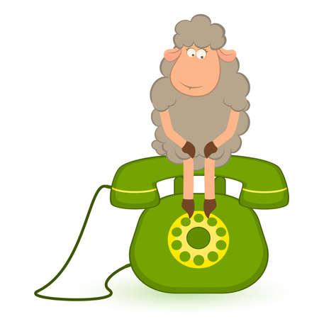 mouton cartoon: Illustration de moutons de dessin anim� est assis sur un t�l�phone, attend une cloche