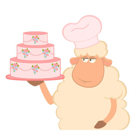illustration of cartoon sheep holding fancy wedding cake Vector