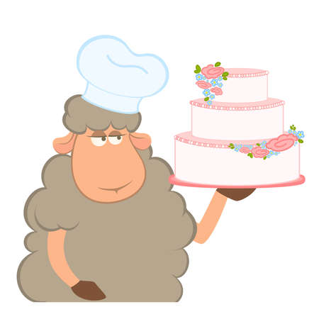 Vector illustration of cartoon sheep holding fancy wedding cake Vector
