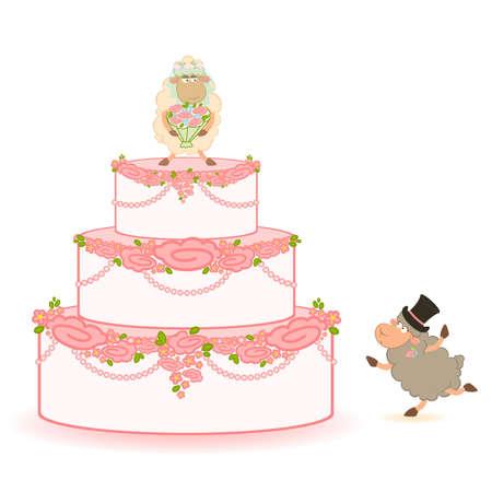 Ilustración de Rosa pastel de boda dulce sobre fondo blanco. Vector. Vectores