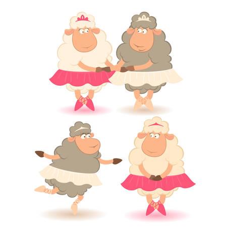 legs stockings: Cartoon divertente pecore - ballerino.  Vettoriali