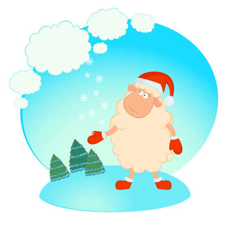 Cartoon funny sheep in the suit of Santa Claus Vector