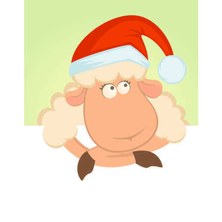 year of the sheep: Cartoon funny sheep in the suit of Santa Claus Illustration