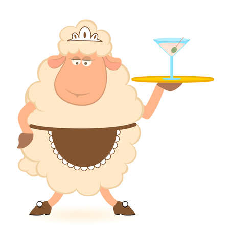 brings: Vector illustration of cartoon sheep - waiter brings a food Illustration
