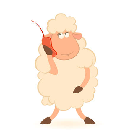 Vector illustration of cartoon sheep speaks by phone Vector