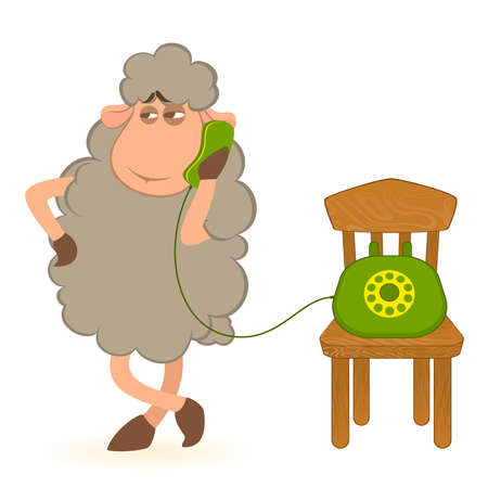 Vector illustration of cartoon sheep speaks by phone Vector