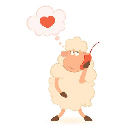 Vector illustratie van cartoon schapen spreekt via de telefoon