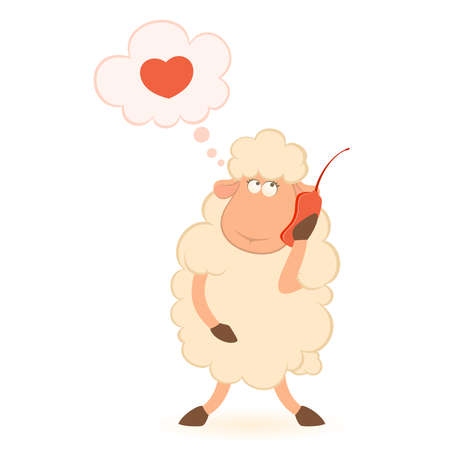 Vector illustration of cartoon sheep speaks by phone Stock Vector - 8507488
