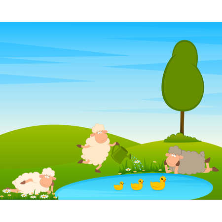 Cartoon funny sheep on country landscape with tree and lake. Illustration