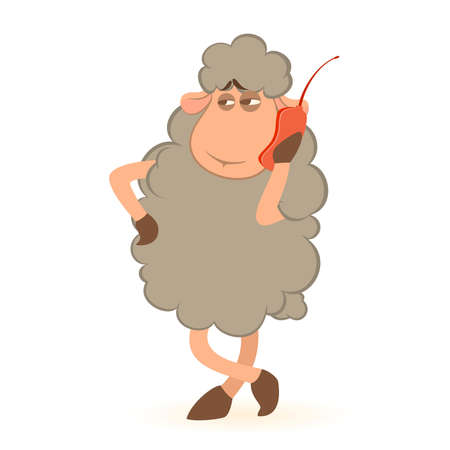 Vector illustration of cartoon sheep speaks by phone Stock Vector - 8507486