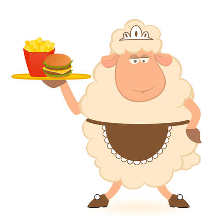 Vector illustration of cartoon sheep - waiter brings a food Illustration