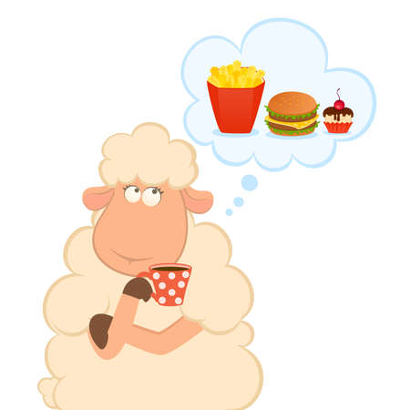 Vector illustration of cartoon sheep has coffee from a cup