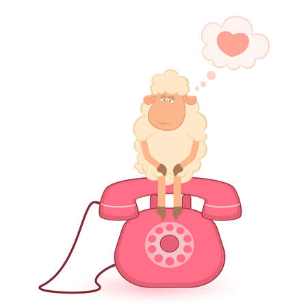 illustration of cartoon sheep sits on a telephone, waits a bell Vector