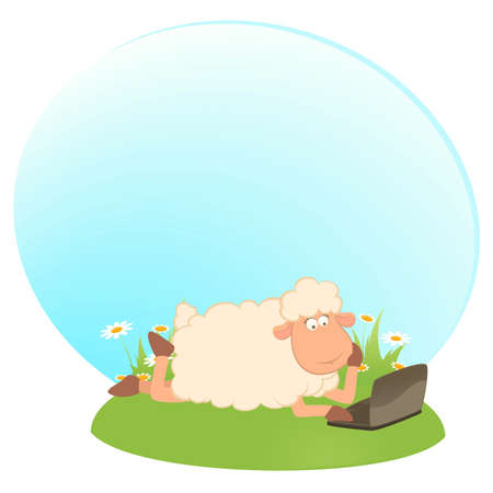 cartoon sheep and laptop Stock Vector - 8565707