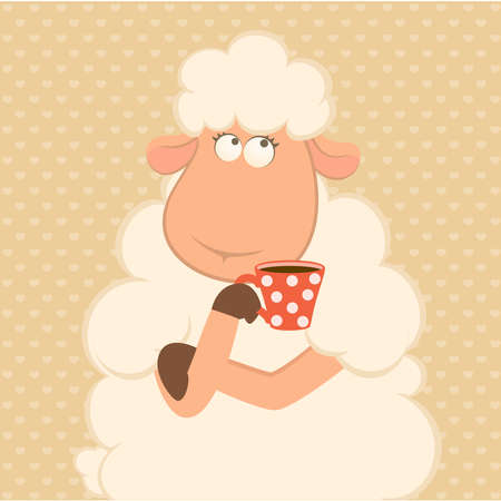 Vector illustration of cartoon sheep has coffee from a cup Stock Vector - 8565594