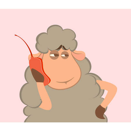 illustration of cartoon sheep speaks by phone Vector