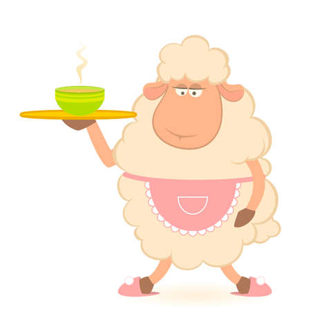 Vector illustration of cartoon sheep - house-owner brings a delicious soup Vector