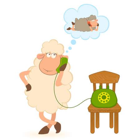 illustration of cartoon sheep speaks by phone Stock Vector - 8565699