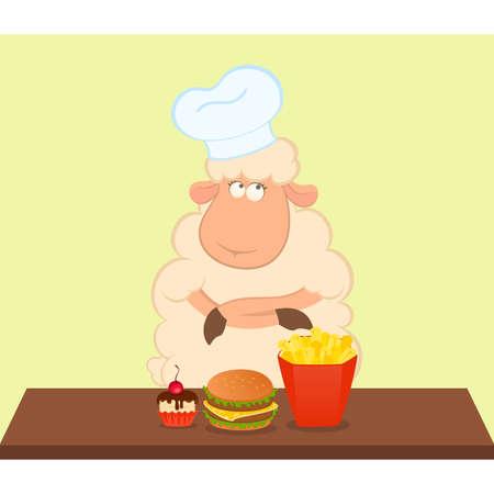 thinks: illustration of cartoon sheep thinks about harmful fast food Illustration