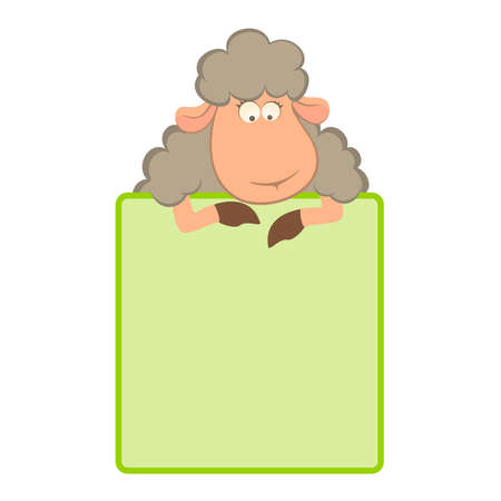 cartoon frame: illustration of cartoon sheep with green frame