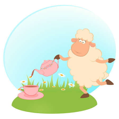 Vector illustration of cartoon sheep pours tea from a tea-pot in a cup Vector
