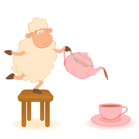 afternoon: Vector illustration of cartoon sheep pours tea from a tea-pot in a cup