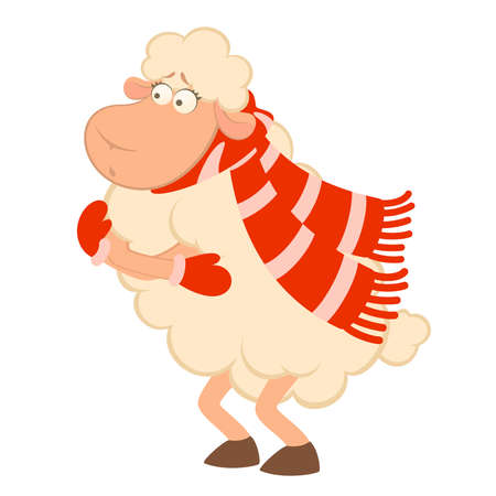 Cartoon funny sheep freezes in a scarf isolated on a white. Vector illustration