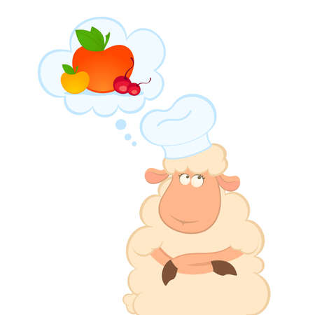 thinks: cartoon sheep thinks about healthy fruit