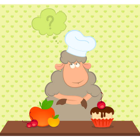 cartoon sheep chooses between a healthy fruit and harmful sweet food Vector