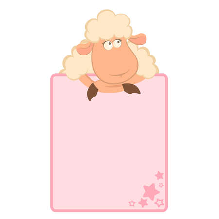 sheep clipart: illustration of cartoon sheep with pink frame
