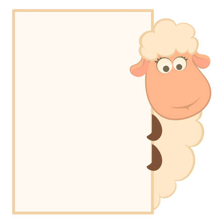 illustration of cartoon sheep with frame Vector