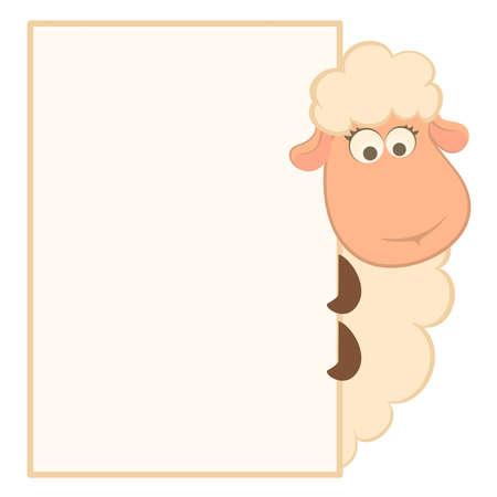 pecora: illustrazione di pecore cartoon con cornice