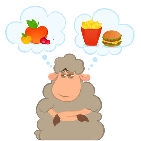 fast eat: cartoon sheep chooses between a healthy food and harmful fast food Illustration