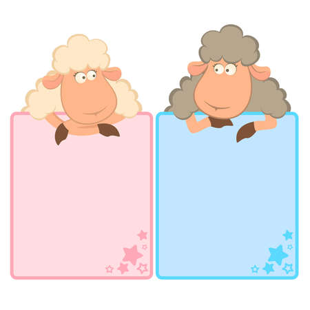 mouton cartoon: Illustration de moutons de dessin anim� avec cadre
