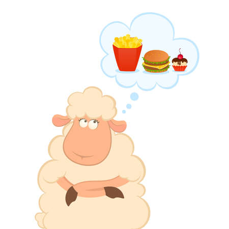 cartoon sheep thinks about harmful fast food Vector