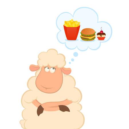 cartoon sheep thinks about harmful fast food Illustration