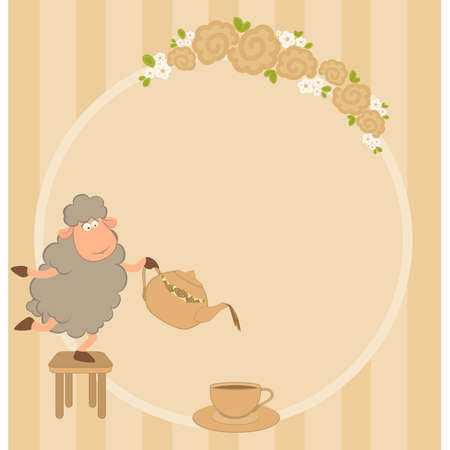 illustration of cartoon sheep pours tea from a tea-pot in a cup Vector