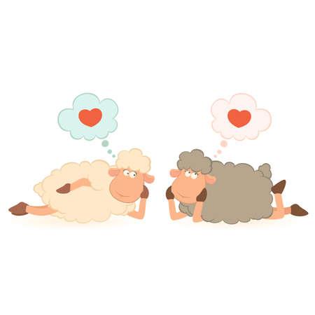 cartoon funny sheep holds a heart Vector